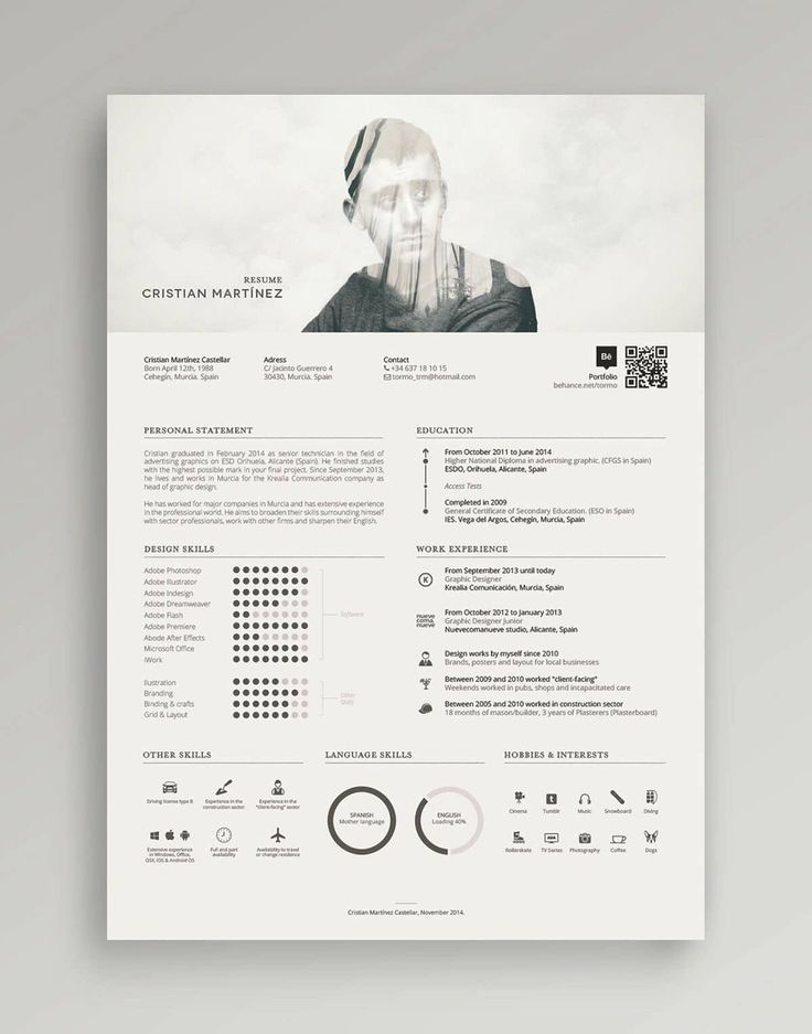 "Cristian Martínez Castellar's ""Resume / Curriculum Vitae"" is an excellent resume example showing how to build resumes that are modern, creative, and functional. With fewer words, the icons and short graphics are forced to tell more of the story."