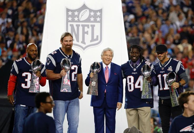 wcvb5 Kevin Faulk, Matt Light, Deion Branch and injured wide receiver Julian Edelman join #Patriots team owner Robert Kraft to display Lombardi trophies from the team's five Super Bowl victories. #NFL #NFLkickoff #Foxborough