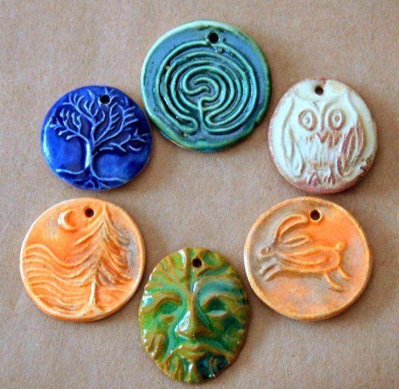 6 Handmade Ceramic Beads  Spiritual and Rustic set by beadfreaky