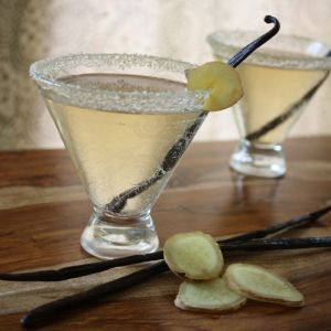 Gingertini     50 ml de vodka   15 ml Dry Vermouth   suc de lamaie   ghimbir proaspat