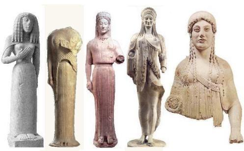 Las korai escultura arcaide femenina.