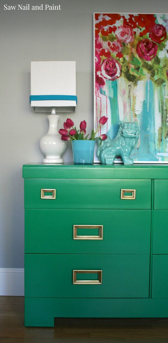 Stunning! Jade Green Mid Century Dresser painted with a paint sprayer!