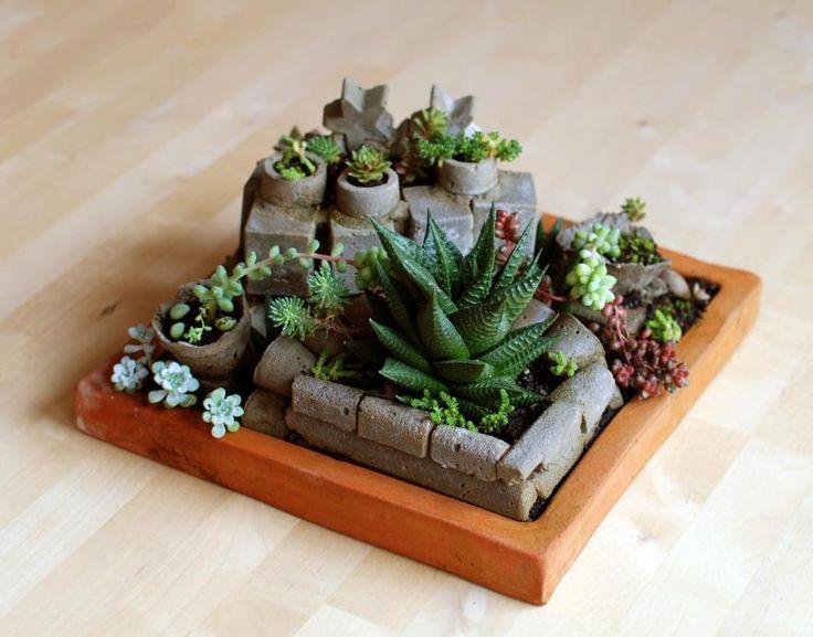 Jardín de cubitos de cemento. No Linde - Incremental Mini - Gardens #nolinde #moss #succulents #pots http://nolinde.com/garden/10