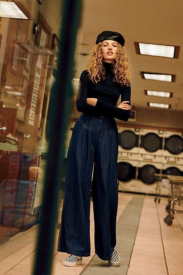 1ab222c8e72 Isabelle Wide Leg Jeans - Dark Blue Extra Wide Leg Jean Trousers