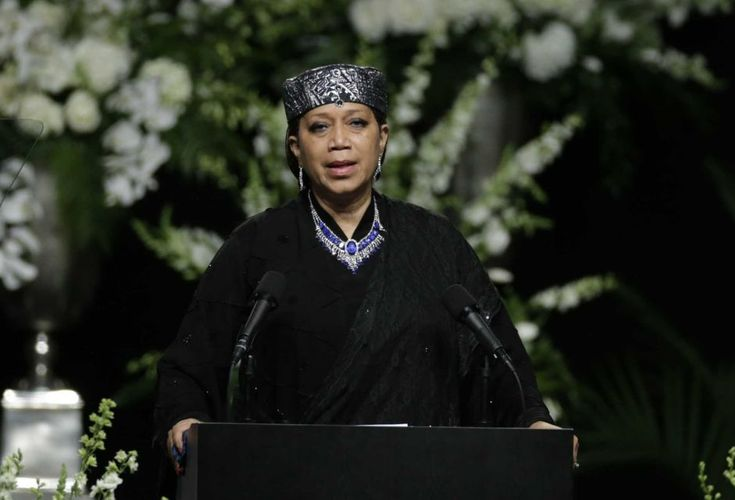 Ambassador Qubilah Shabazz, the second daughter of Malcolm X and Betty Shabazz, speaks during Muhammad Ali's memorial service, Friday, June 10, 2016, in Louisville, Ky.