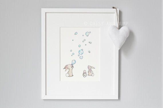 Pépinière Wall Art, lapins et bulles, photo lapin, Art de chambre à coucher de l'enfant, bleu Pastel, lapin, lunatique, nouveau bébé, sticker pour enfants,
