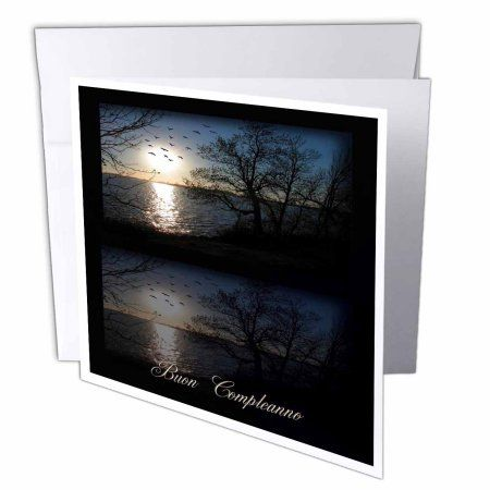 3dRose Across the lake, Buon Compleanno, Birthday in Italian, Greeting Cards, 6 x 6 inches, set of 12