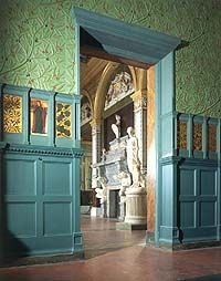 Possible decor for the crafting rooms of the cafe.  This photo is an interior shot of the William Morris room at the Vitctoria and Albert Museum, London.