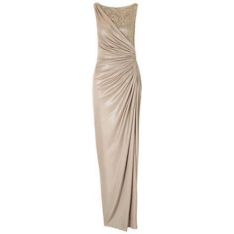 Buy Adrianna Papell Petite Draped Jersey Gown With Metallic Lace, Champagne Online at johnlewis.com
