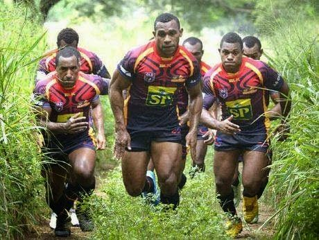 Rugby players from the popular Papua New Guinea sports team: 'PNG Hunters'. Rugby League is one of PNG's popular national sports.