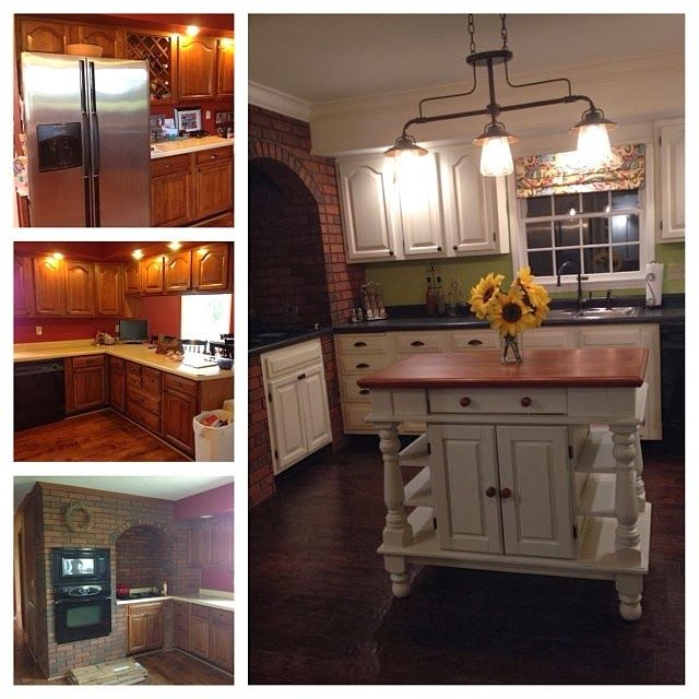 The Kitchen Before After...cabinets Painted With Annie Sloan Chalk Paint  With Distressing