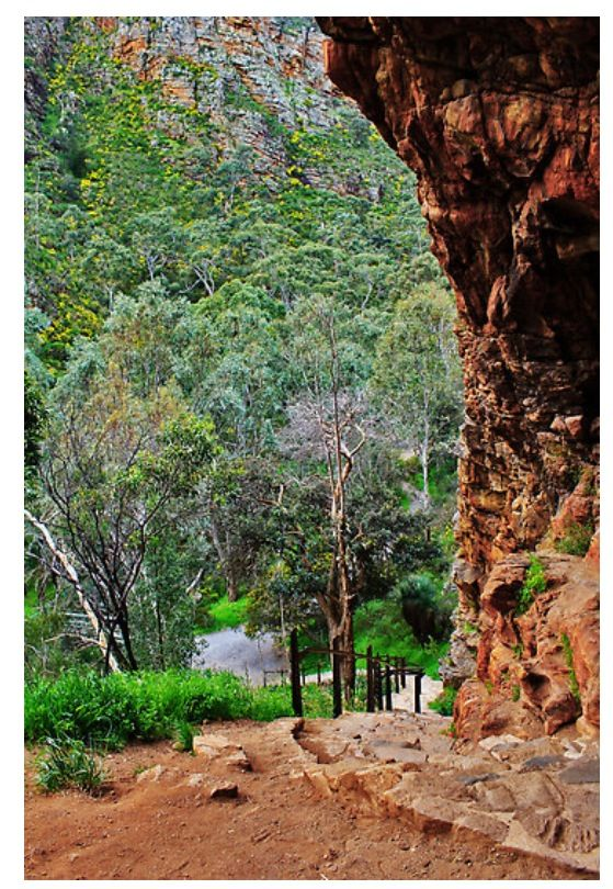 Inside the caves at Morialta falls in the Adelaide hills, Adelaide, South Australia