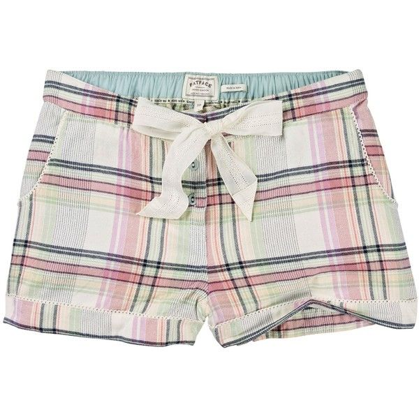 Fat Face Herringbone Check Pyjama Shorts ($32) ❤ liked on Polyvore featuring intimates, sleepwear, pajamas, multi, summer sleepwear, cotton sleepwear, cotton pyjamas, summer pjs and cotton pjs