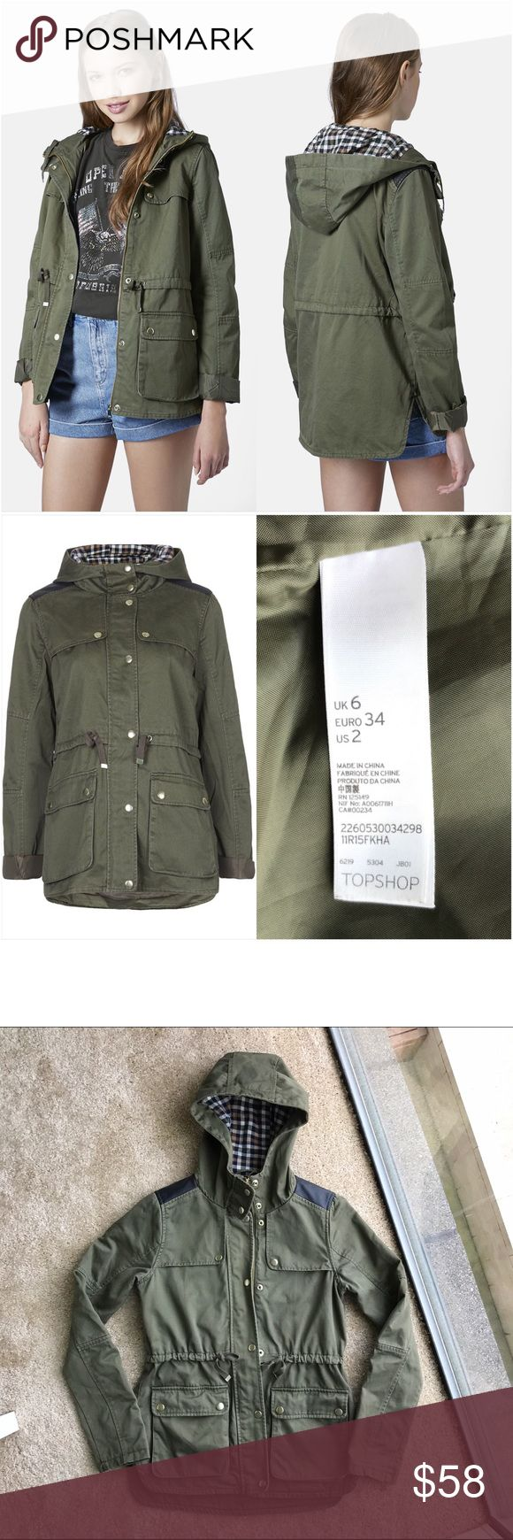 """Topshop Hooded Lightweight Khaki Jacket Parka US 2 Topshop Hooded Lightweight Khaki Jacket Parka. Size US 2 (UK 6). Colour: khaki. Made of 100% cotton. Measurements: from armpit to armpit 18"""", front length 26"""", sleeve length from shoulder seam 24"""". Gently used! No holes or stains! Excellent condition! Open to offers! Topshop Jackets & Coats Utility Jackets"""