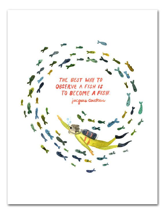 Become A Fish Watercolor Art Print Jacques by LittleTruthsStudio