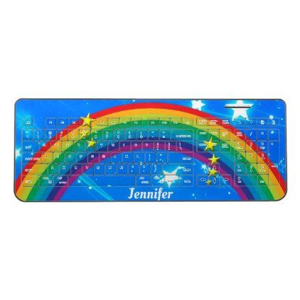 Rainbow Stars Custom Name Wireless Keyboard - gift for her idea diy special unique