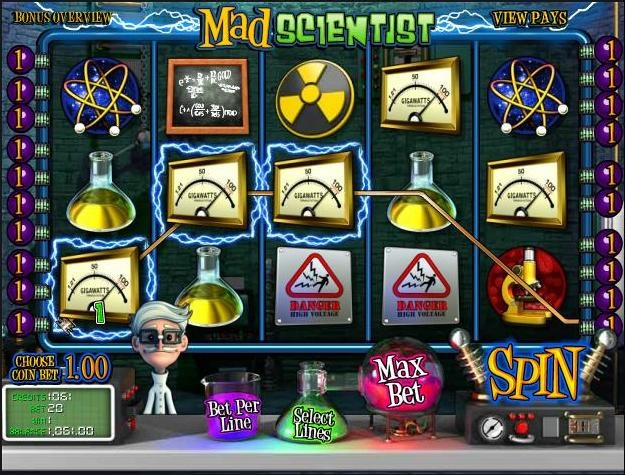 Enjoy playing this totally free version of the Mad Scientist 3d video slots game at 1OnlineCasino.com