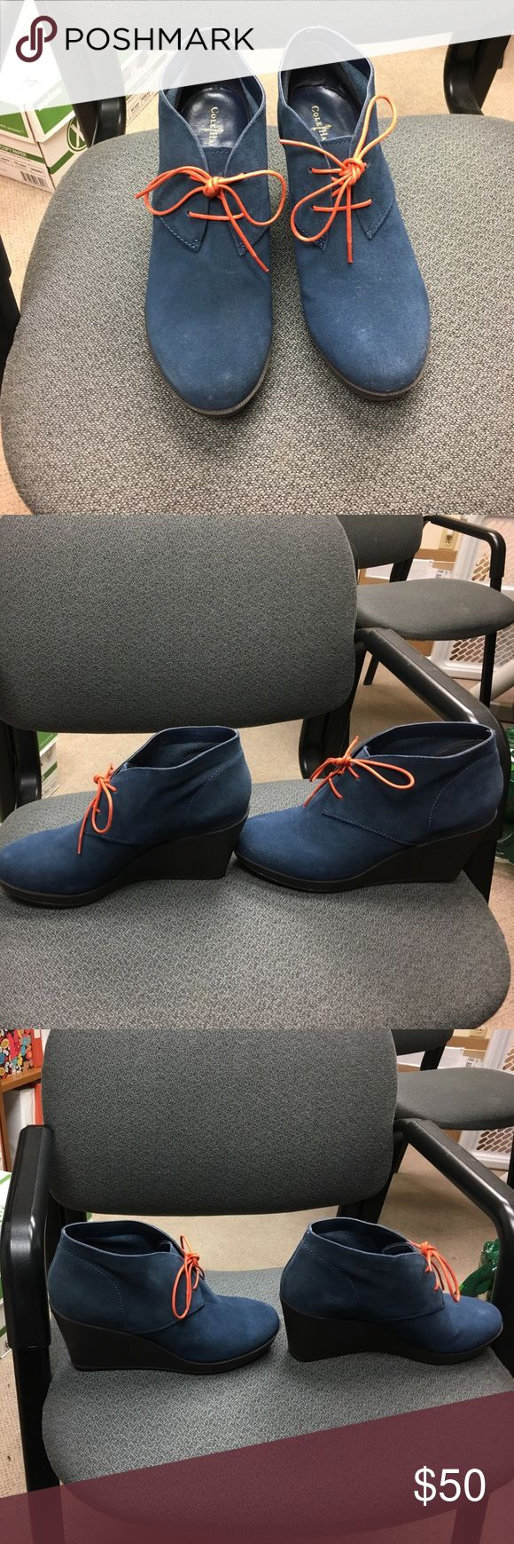 Cole Hann blue suede wedge booties. Cole Haan blue suede booties in a wedge style. Heels are 3 inches. I also have matching blue laces and pink laces and the box. Like new condition. Cole Haan Shoes Ankle Boots & Booties