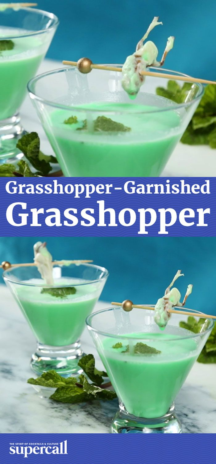 The Grasshopper is a great drink with a misleading name, as it contains no actual grasshoppers. So we fixed it. Grasshoppers aren't strangers to cocktails; in Mexico they're fried and served as bar snacks with cocktails like Palomas. Here, though, they're covered in white chocolate and perched atop the creamy cocktail as a sweet, crunchy garnish.