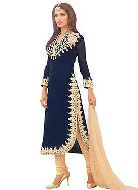 Teal Blue Georgette Churidar Suit                                                                                                                                                                                 More