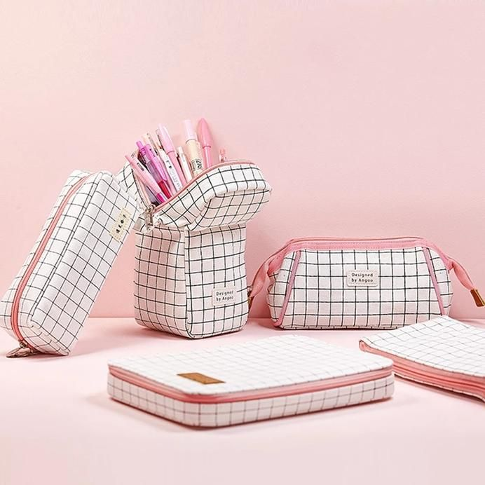 Grid Pink Pencil Pouch Series In 2020 With Images Pencil Case