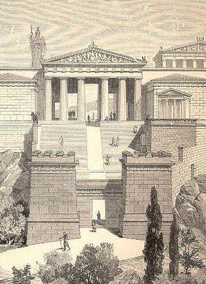 PROPILEOS: son, en arquitectura, una entrada monumental con columnas a un edificio o recinto cerrado. En la Antigua Grecia, la palabra en singular própylon o propileo designaba un vestíbulo simple ubicado en el frente de la entrada a un santuario, palacio o ciudad.En plural, los propileos  son entradas o pórticos monumentales de estructura mucho más compleja, como en Eleusis, Corinto, Epidauro o Atenas. Frecuentemente disponían de una pared o también llamada fachada con columnas.