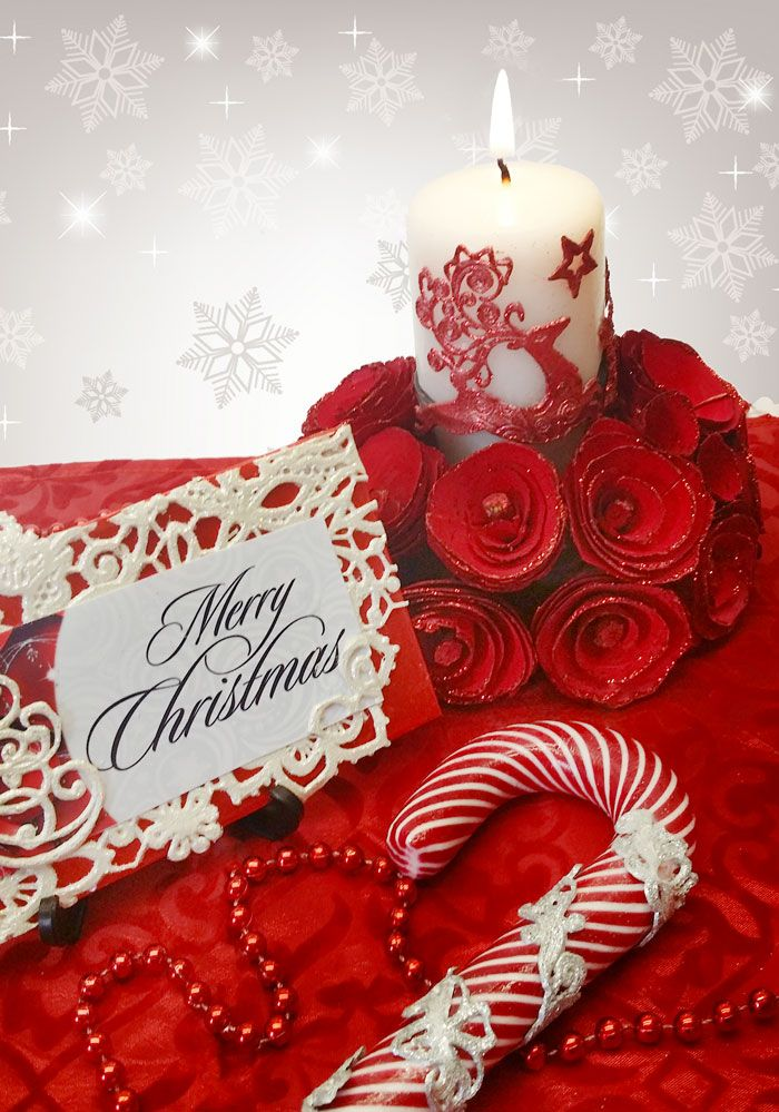 Christmas decor with candle, candy cane, place name- edible lace embellished.