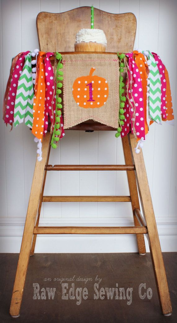 PUMPKIN Birthday High Chair Highchair Banner Party Photo Prop Backdrop Autumn…