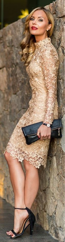 ­gold lace long sleeve cocktail dress