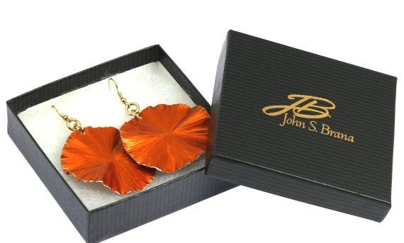 New Fashion-foward 10 Year Anniversary Gift Large Orange Aluminum Leaf Earrings https://www.etsy.com/listing/464052203/10-year-anniversary-gift-large-orange?ref=rss