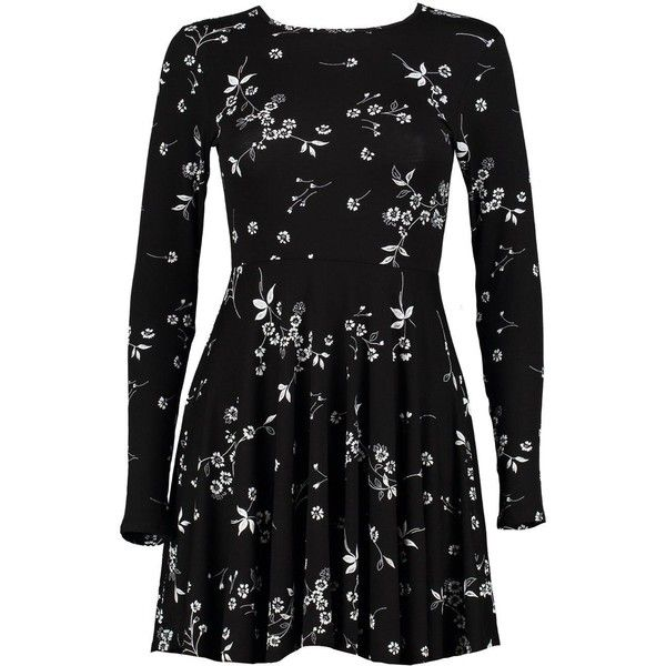 Boohoo Petite Jane Floral Print Skater Dress | Boohoo (£15) ❤ liked on Polyvore featuring dresses, floral skater dress, floral dresses, petite floral dress, petite dresses and botanical dress