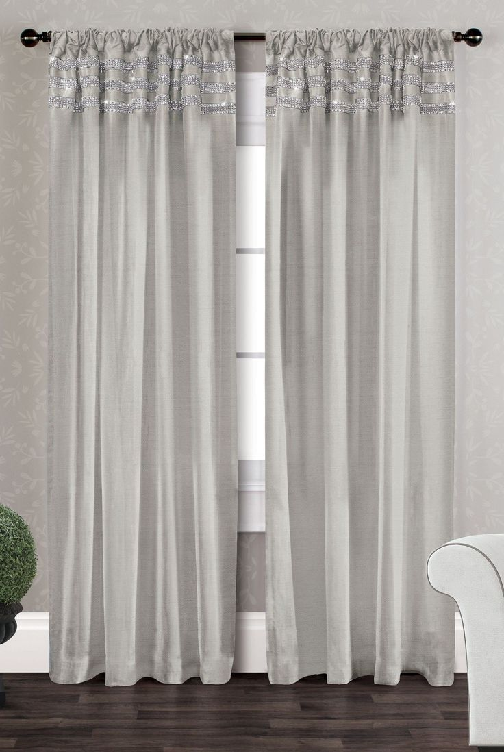 Bling Striped Semi Sheer Curtain Panels Of 2 And Textiles
