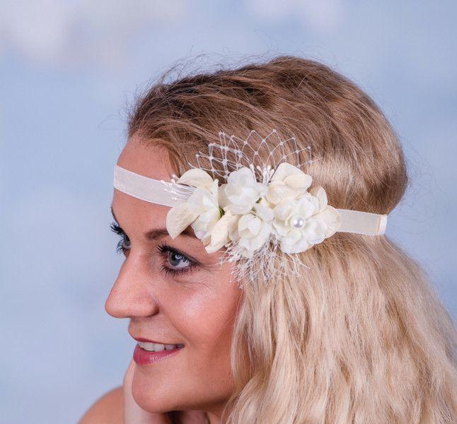 Haarschmuck & Kopfputz - Braut Blumenband Boho Perlen Trachten Pre 65 - ein Designerstück von Perle-Wismer bei DaWanda