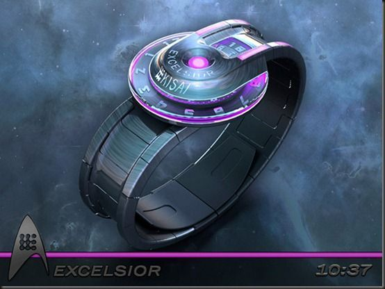 The clock in the style of a spaceship Excelsior. Designer Peter Fletche presented wristwatch, stylized under spaceship Excelsior in  the fiction series Star Trek. The gadget has an analogue display with two rotating discs – to hours and minutes.