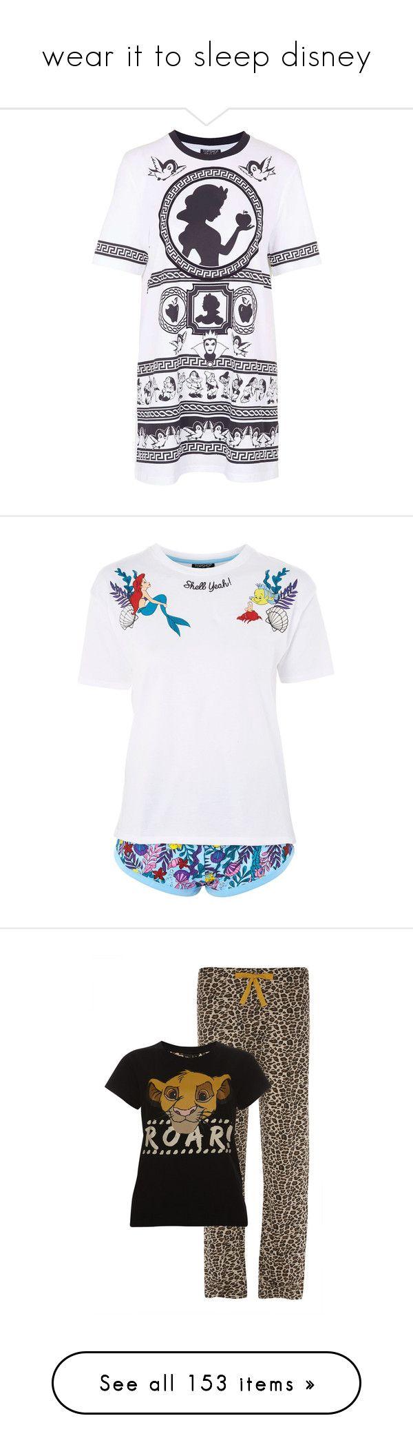 """wear it to sleep disney"" by basicstarks ❤ liked on Polyvore featuring intimates, sleepwear, pajamas, dresses, white, long pajamas, white pjs, topshop pjs, white pajamas and topshop pyjamas"