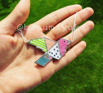 Renkli origami kuş kolye/broş
