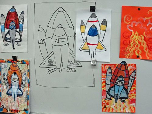 Wow! America! by Robert Neubecker is one of my favorite resources for art lessons. I love his dynamic illustrations. This picture book inspired this Space Shuttle art lesson. I created this lesson for my Kinder class but see how art teacher Hannah Millard from Highland Elementary adapted this lesson for fourth grade. I think the results are even more spectacular!