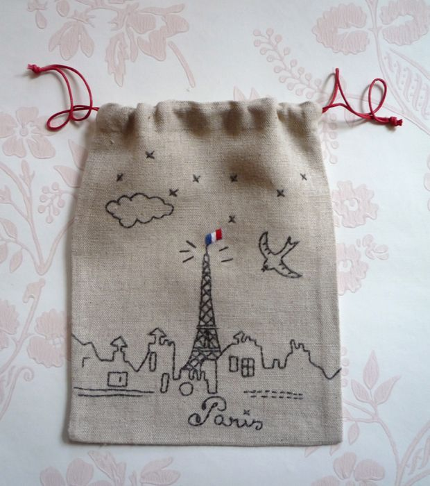 Marie-France Annasse #Paris#toureiffel lovely drawing on favor bag + embroidery?