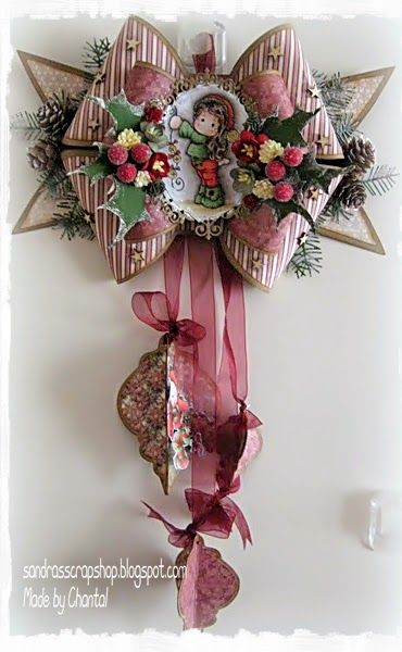 Een strik kaart voor kerst, mooi om op te hangen *** A bow card, nice to hang up #christmas