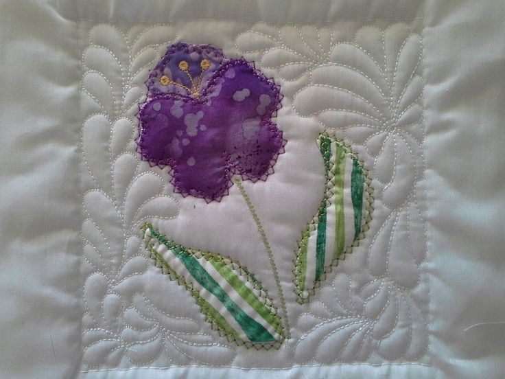 """TS1421 - Sew and Turn Applique QAYG Block 4  The fourth block in our series of Sew and Turn Applique Blocks. A piece of a country garden! The Sew and Turn technique creates a lovely """"puffy"""" applique design very much like the traditional hand applique. #embroidery #applique #quilting"""