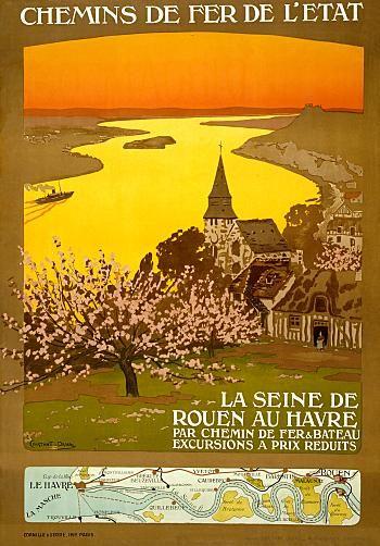 Vintage Railway Travel Poster - La Seine De Rouen Au Havre - France.