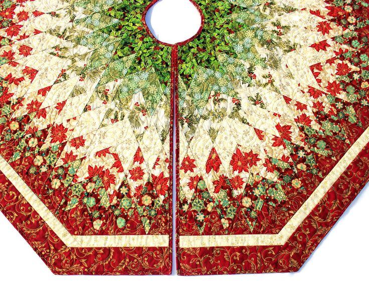 Christmas Tree Skirt Quilt, Red Green Diamonds All Around Quilted Tree Skirt, 60 inch Poinsettia Tree Skirt, Quiltsy Handmade Patchwork by QuiltSewPieceful on Etsy