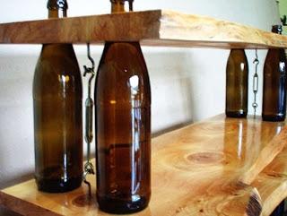 Upcycled wine bottle shelves