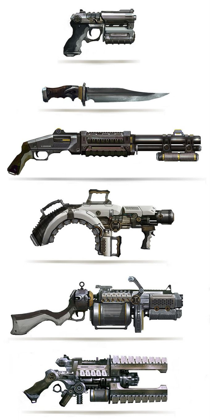 Retro-future firearms. Leonid Enin Concept Art and Illustration equipment gear magic item | Create your own roleplaying game material w/ RPG Bard: www.rpgbard.com | Writing inspiration for Dungeons and Dragons DND D&D Pathfinder PFRPG Warhammer 40k Star Wars Shadowrun Call of Cthulhu Lord of the Rings LoTR + d20 fantasy science fiction scifi horror design | Not Trusty Sword art: click artwork for source