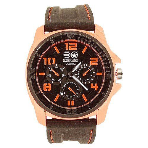 Cross Hatch Gents Chrono Effect Metalic Orange Bezel Black Silicone Watch CRS31C