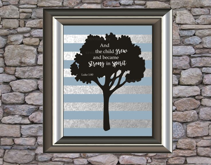 Scripture Art, Bible Verses, Children's Bible Verses, And the child grew and became strong in spirit - Luke 1:80, Tree by Creativitability on Etsy