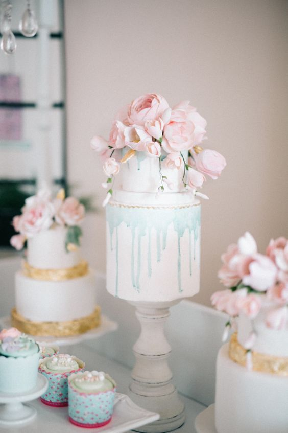 36 Drip Wedding Cakes Almost Too Pretty To Eat. Pale blue drip wedding cake with pink flowers. See more at http://www.theweddingguru.ca/36-drip-wedding-cakes-almost-too-pretty-to-eat/ #dripcake