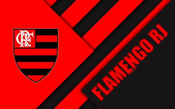 Download wallpapers Flamengo RJ FC, Rio de Janeiro, Brazil, 4k, material design, black and red abstraction, Brazilian football club, Serie A, football