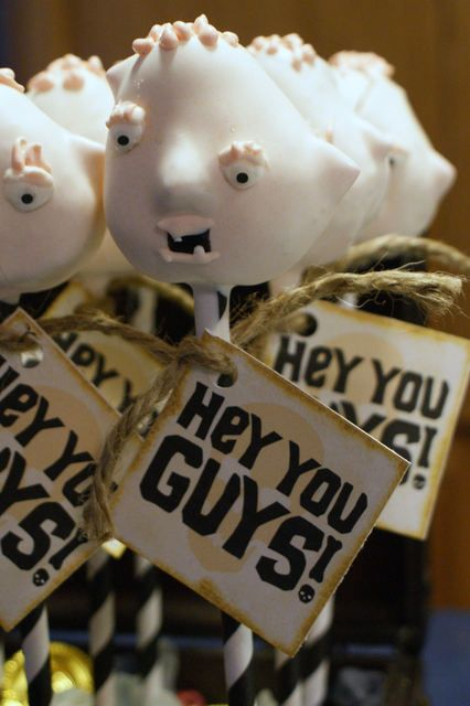 Goonies sloth cake pops :D      Kristy I could see you doing a goonies party and making these.  I can actually hear Chris and Marty saying this to each other. lol