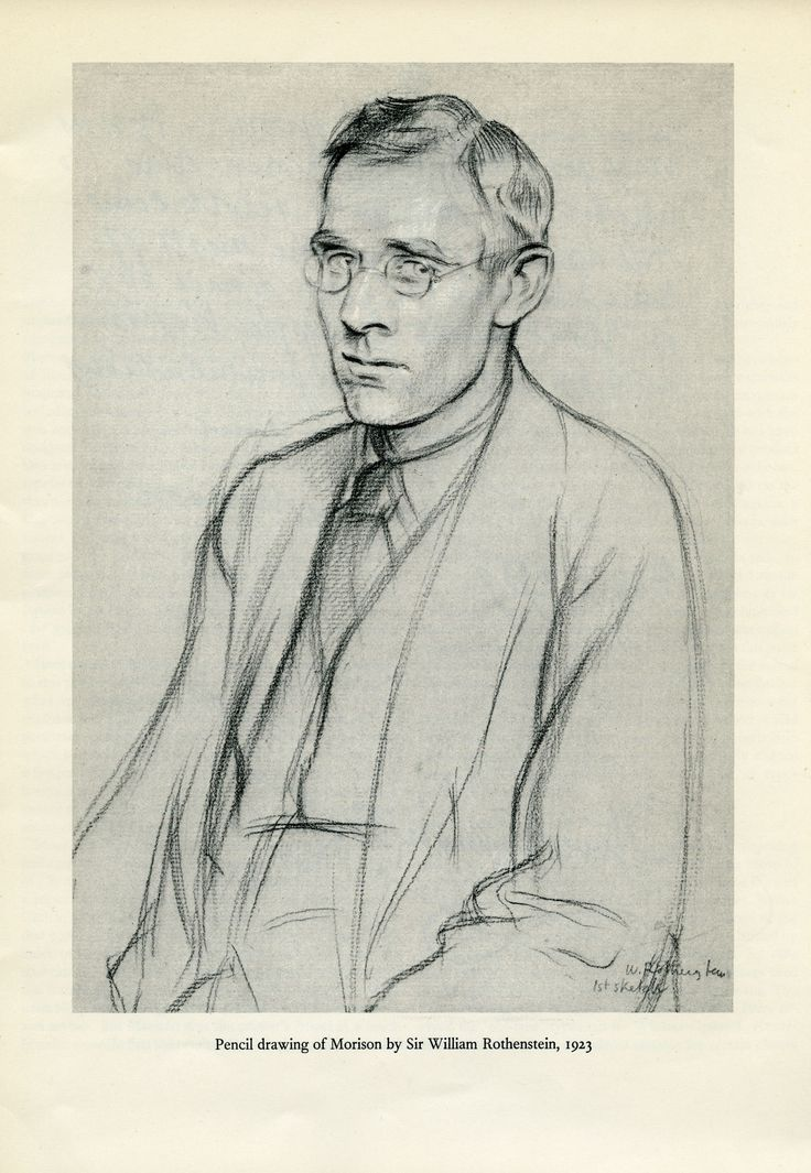 Pencil drawing of Morison by Sir William Rothenstein. 1923.